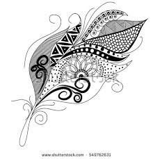 ornamental feather swirly decorative element vector stock vector