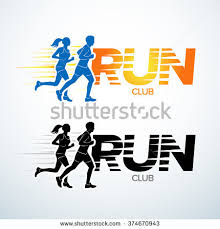 run club logo template sport logotype stock vector 374670943