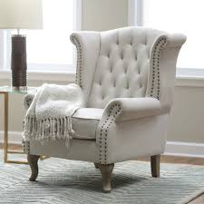 High Back Wing Armchairs High Back Chairs For Living Room White Color Tall Wingback Chair