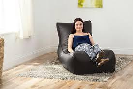 bean bag sofa bed black faux leather lounger beanbag big giant bean bag sofa bed