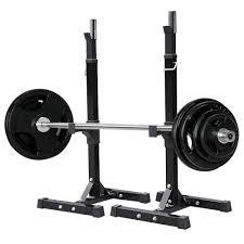 fully adjustable heavy duty steel squat station bench press bar