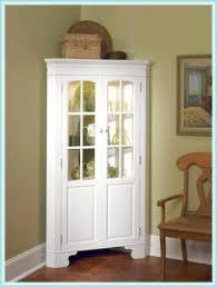White Corner Cabinet With Doors White Curio Corner Cabinet Foter