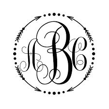 monogram initials monogram decal arrow circle dots circle or initials only