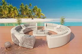 white round outdoor patio table sofa sectional patio furniture set 6