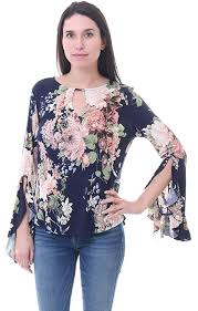printed blouse ariella tops bell ruffle sleeve navy printed blouse