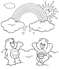 care bears watching rainbow coloring pages care bears