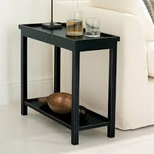Black Side Table Jet Rubbed Black Narrow Wooden Side Table Oka