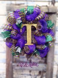 mardi gras wreaths deco mesh monogrammed mardi gras wreath on etsy 60 00 mardi