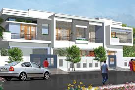 Row House Front Elevation - elevation and floor plan of contemporary home indian house plans