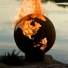 Steel Fire Pit - unique globe 36 inch handmade wood burning steel fire pit third