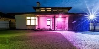 Home Decorator Store Detached Luxury House At Night View From Outside Front Entrance
