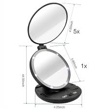 double sided 1x 5x magnifying travel makeup mirror with led