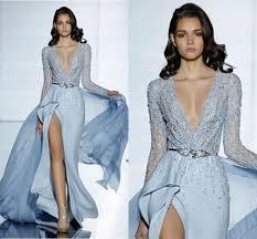 light blue long sleeve dress zuhair murad 2015 dresses light blue satin beads formal evening