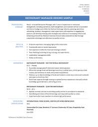 restaurant manager description for resume free resume example