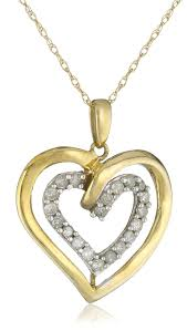 diamond heart gold necklace images 10k yellow gold 1 4 cttw diamond double heart pendant jpg