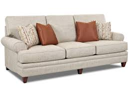 Klaussner Fabrics Klaussner Fresno Transitional Sofa With Low Profile Rolled Arms