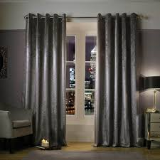 Grey Curtains 90 X 90 Minogue Adelphi Lined Ready Made Eyelet Ring Top Embossed