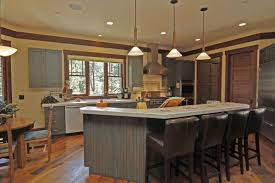 Kitchen Island With Table Seating Small Cone Glass Ceiling Lamp White Granite Countertop Large Thre