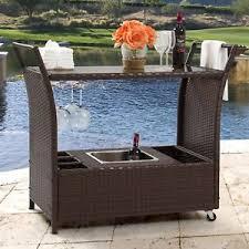 Patio Serving Table Outdoor Wicker Bar Ebay