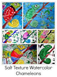 salt texture watercolor chameleons at anand vidyalaya artsy