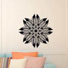 Wall Decals Mandala Ornament Indian by Feathers Mandala Wall Sticker Indian Feather Lotus Om Symbol