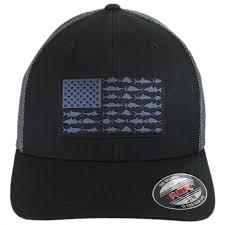 Black Flag Hat Columbia Sportswear Pfg Fish Flag Mesh Flexfit Fitted Baseball Cap
