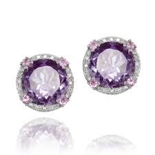 amethyst earrings diamond pink sapphire amethyst earrings missesdressy