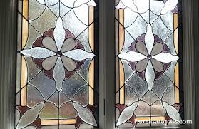 stained glass window in purple white u0026 yellow