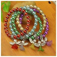 beaded bracelet glass pearl images Wholesale lovely wedding dress angel bracelets for kids carnival JPG