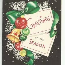 black christmas cards vintage greetings of the season bright colors on black