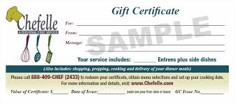 gift certificates chefelle personal chef and catering