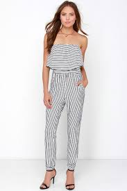 ivory jumpsuit chic black and ivory striped jumpsuit strapless jumpsuit knit