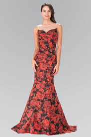 red black floral print dress with sheer neckline by elizabeth k