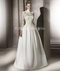 robe de mariã e manche longue dentelle robe de mariée princesse col montant avec manches longues en