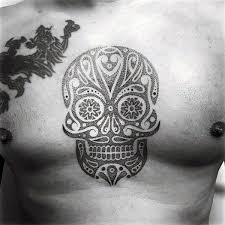 cool sugar skull tattoo designs for men on chest tatted up and