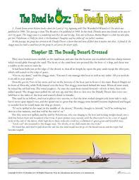 classic literature worksheets the road to oz