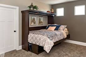 Folding Bed Sheets Gray Color Wall Paints Below Recessed Lights Closed To Folding Bed