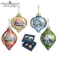 kinkade light up the season luminary glass ornament set