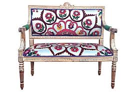 french hollywood regency rococo style settee love seat wood