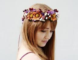 hippie flower headbands hair accessory violet wedding woodland flower crown flower