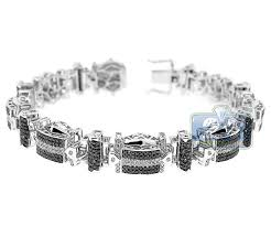 black diamond gold bracelet images Mens black diamond pave link bracelet 14k white gold 5 80 ct 8 5 quot jpg
