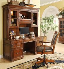 Wooden Office Chairs With Casters Caster Equipped Wooden Desk Chair With Leather Covered Seat By