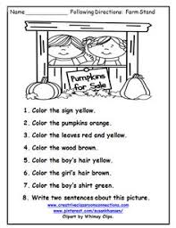 this free worksheet allows students to follow directions with