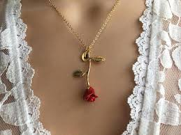 gold red rose necklace images Original beauty and the beast rose necklace silver rose necklace jpg