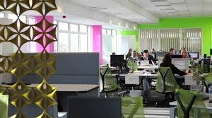 large open plan office and funky breakout space installed without