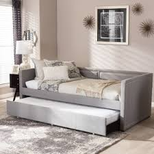 Queen Bed With Twin Trundle Contemporary Fabric Daybed With Trundle By Baxton Studio Free