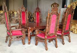 Throne Style Chair Throne Dining Table 6 Chairs Lion Antique Mahogany High Back
