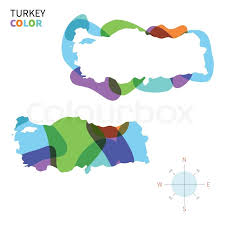 abstract vector color map of turkey with transparent paint effect