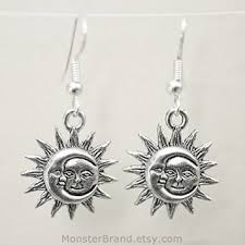silver earrings celestial sun and crescent moon charms day and