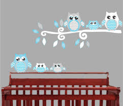 blue owl wall decals owl stickers owl nursery wall decor